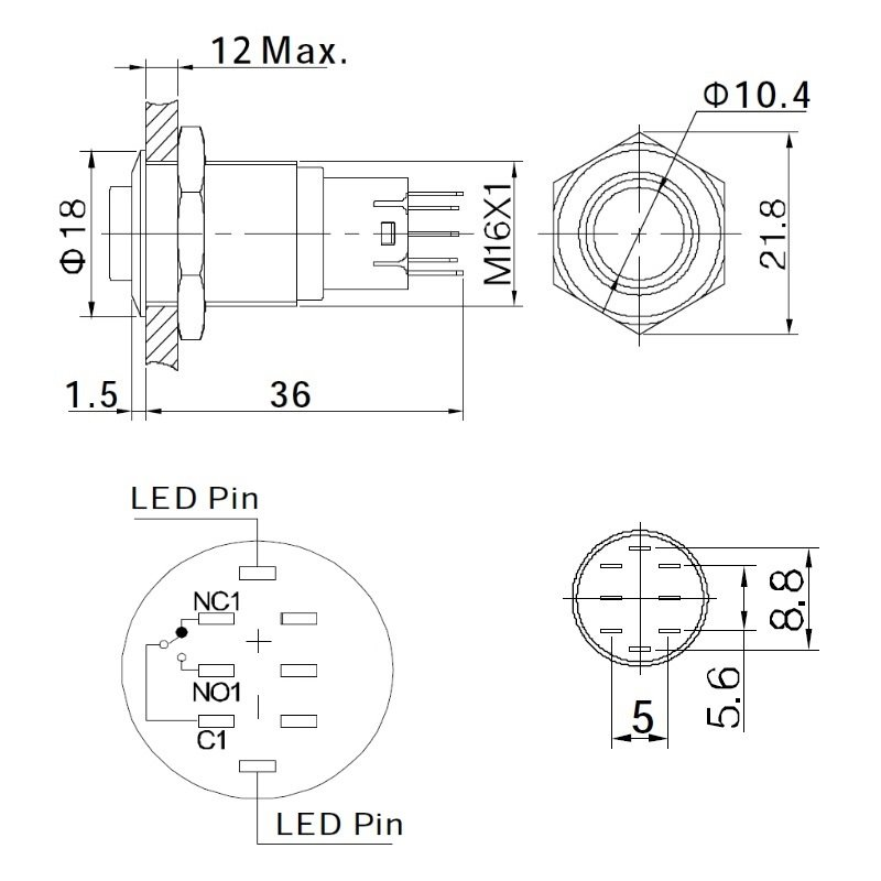 18mm Edelstahl-Taster mit LED-Ringbeleuchtung, rot