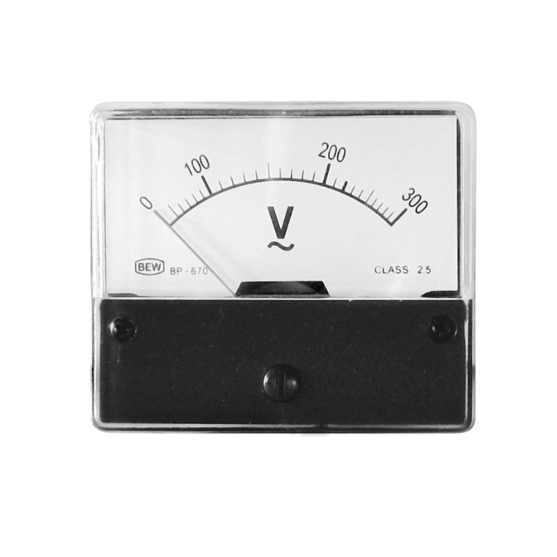 Einbaumessinstrument, analog, 70x60mm, Voltmeter 300V/AC
