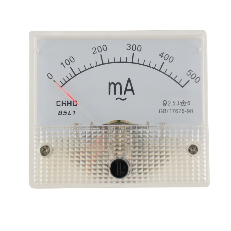 Einbaumessinstrument, analog, 64x56mm, Amperemeter 200mA/DC