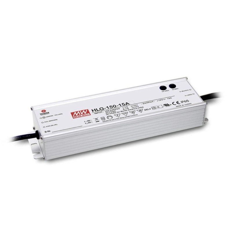 MEAN WELL HLG-150H-24A, LED-Treiber, IP65, 150W, 24V, 6,3A, CV+CC
