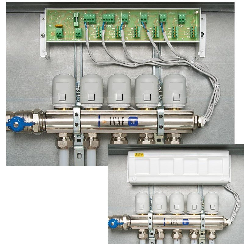 fu bodenheizung set 6x stellantriebe regelverteiler. Black Bedroom Furniture Sets. Home Design Ideas