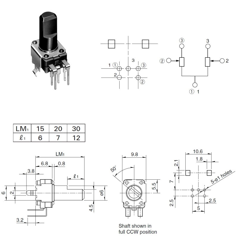 Potentiometer ALPS RK09K, 2x10K, log, stehend, 15mm, Achse flach
