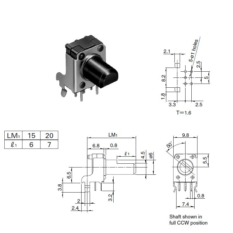 Potentiometer ALPS RK09K, 2x10K, log, 90°, 15mm, Achse flach